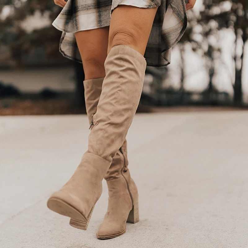 Frauen Oberschenkel Hohe Stiefel Mode Wildleder Leder High Heels Lace up Weibliches Über Das Knie Stiefel Plus Größe Schuhe Drop verschiffen 2019