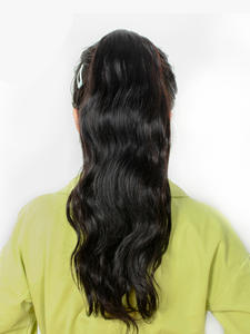 Body-Wave Ponytail Human-Hair-Extension Brazilian Clip-In Drawstring Natural-Color