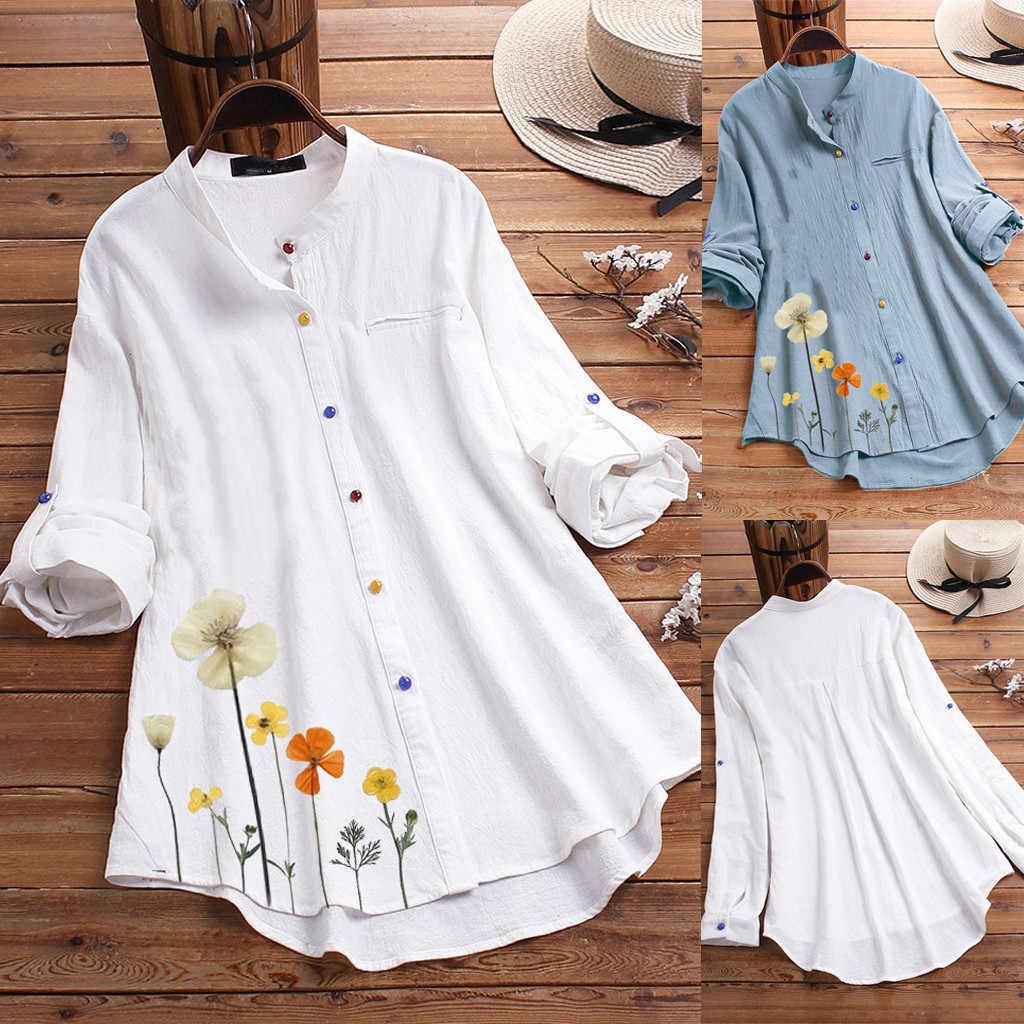 38 # Vrouwen Zomer Herfst Shirts Streep Print Borduren Lange Mouwen Button Losse Top Blouse Shirt Casual Mode Shirts 2020