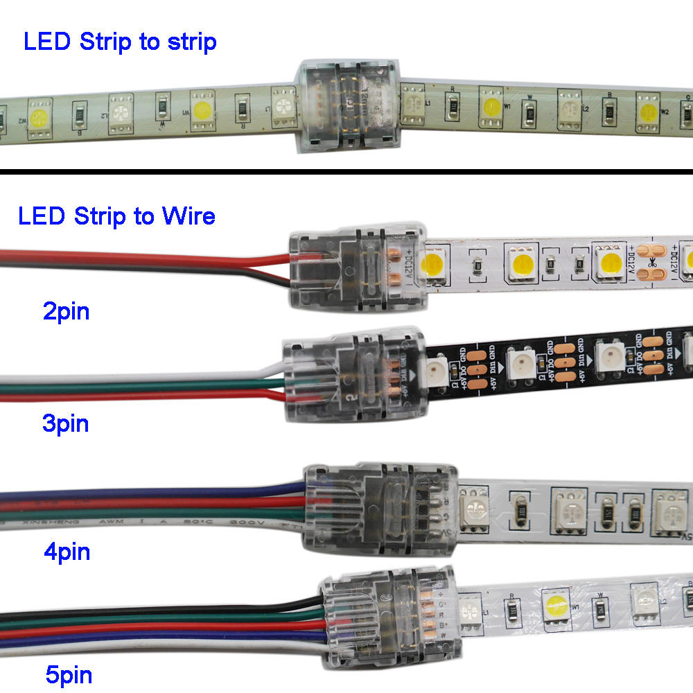 5pcs/lot 2pin 3pin 4pin 5pin LED Strip Connector For 3528 5050 Led Strip To Wire Or Strip To Strip Connection Use Terminals
