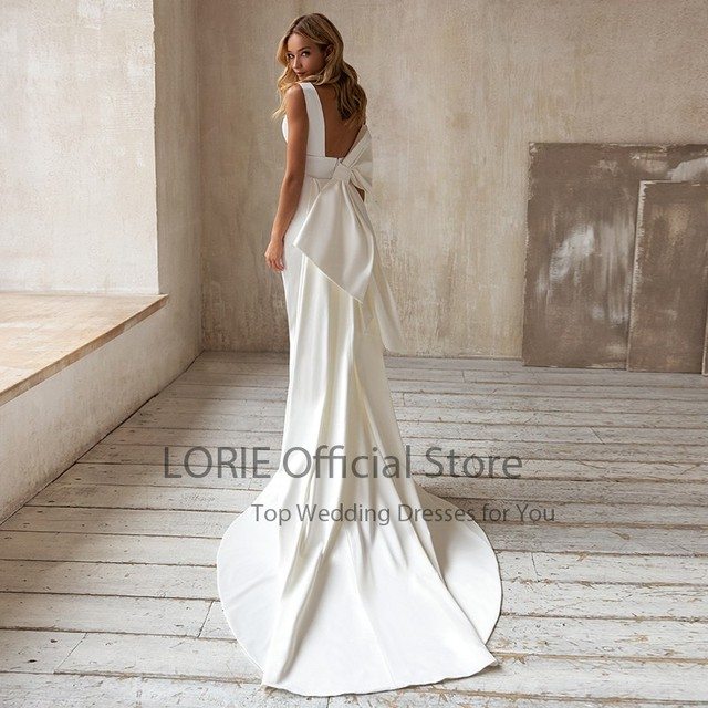 LORIE Elegant Mermaid Wedding Dresses with Detachable Train Bow White Ivory Boho Wedding Bridal Gown V-Neck abito da sposa 2