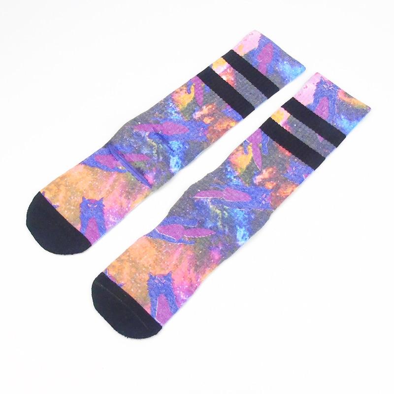 Star Print Skateboard Socks Men Towel Bottom Comfort Cotton Meias Fit Performance Sox 001Y8