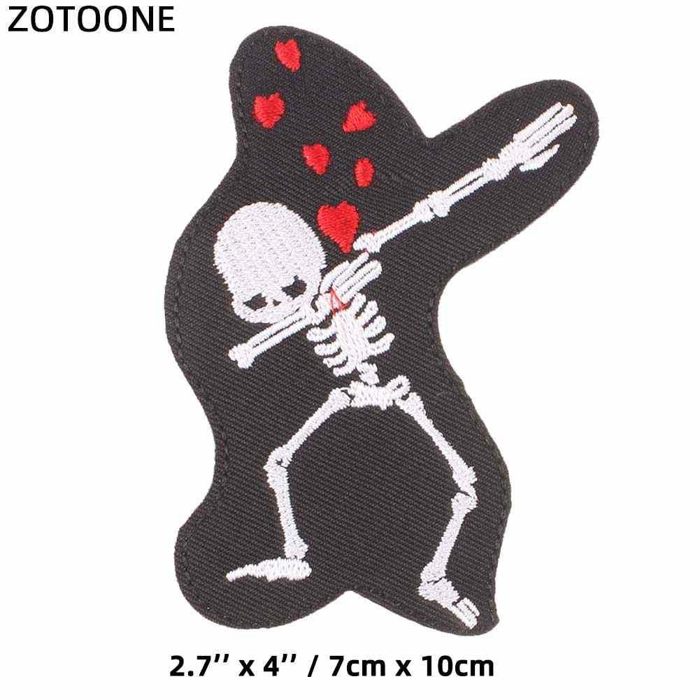 ZOTOONE 3D cráneo DIY tela insignias Alien decorar parche Jeans bolsa sombrero Ropa Decoración para la ropa apliques parches H