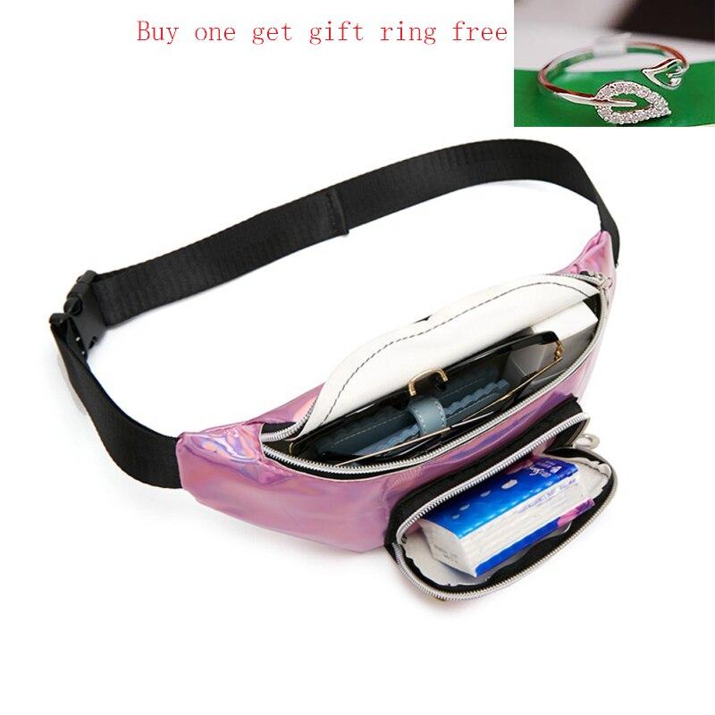 Buy 1 Get 2 Holographic Waist Bags Purse Women Fanny Pack Female Belt Bag Banana Waist Packs Laser Chest Phone Pouch