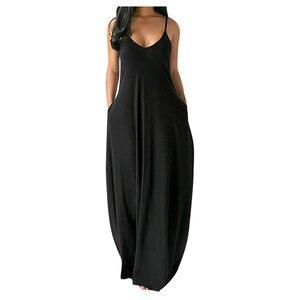 Женское летнее длинное платье, свободное сексуальное платье на тонких бретелях без рукавов с карманами, однотонное платье макси, повседнев...