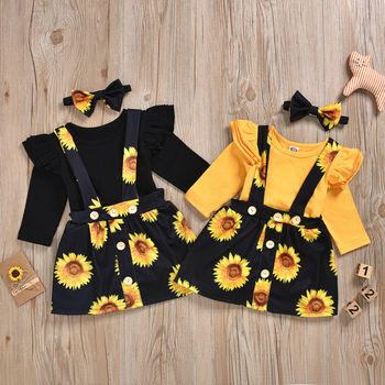 Baby Girl's Sunflower Patterned Clothing Set 1