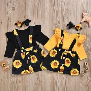 Newborn Kids Baby Girl 2PCS Sets Floral Sunflowers Clothes Jumpsuit Romper Body Suit Suspenders Skirt Outfit Set Sundress New