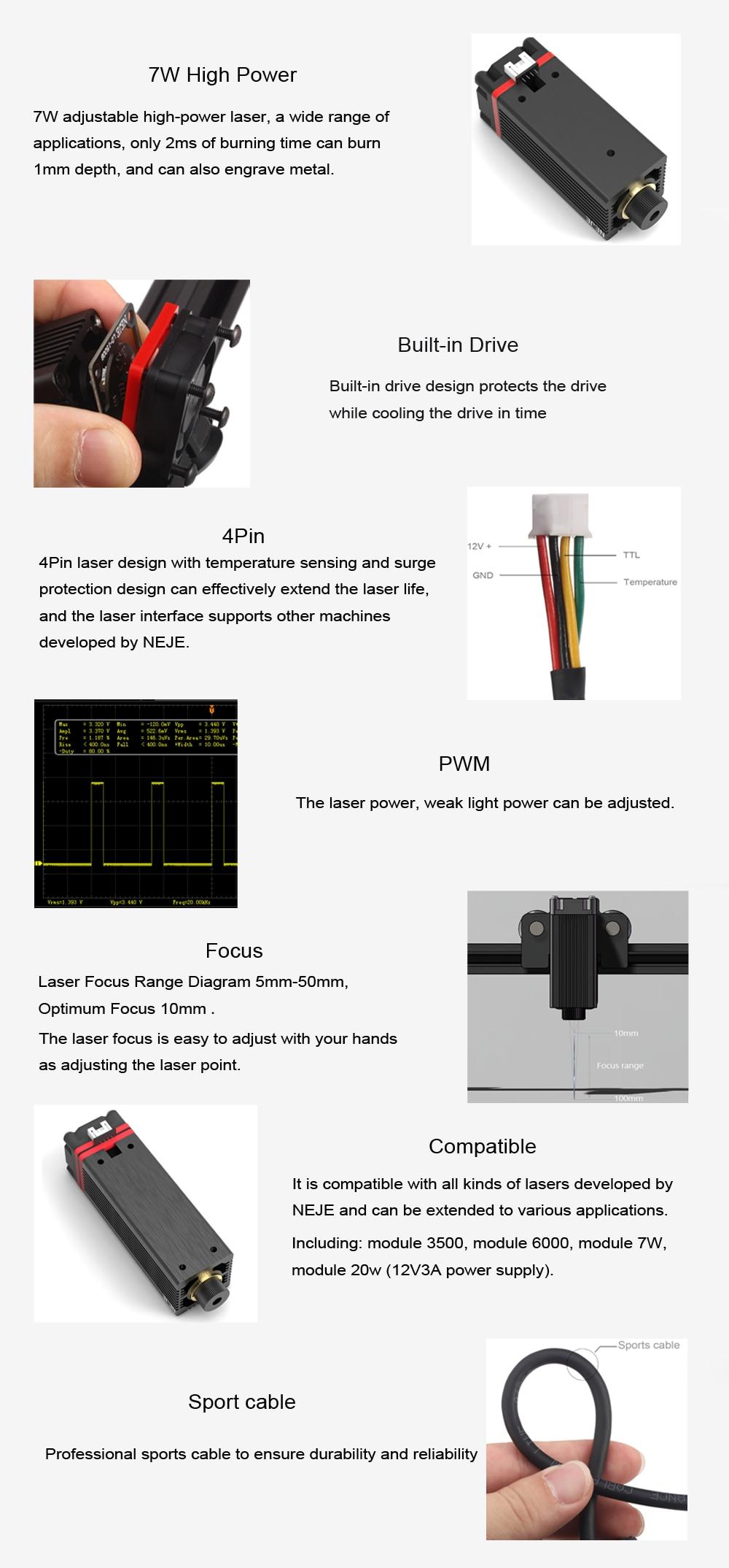 gravador a laser & cortador 7w cnc