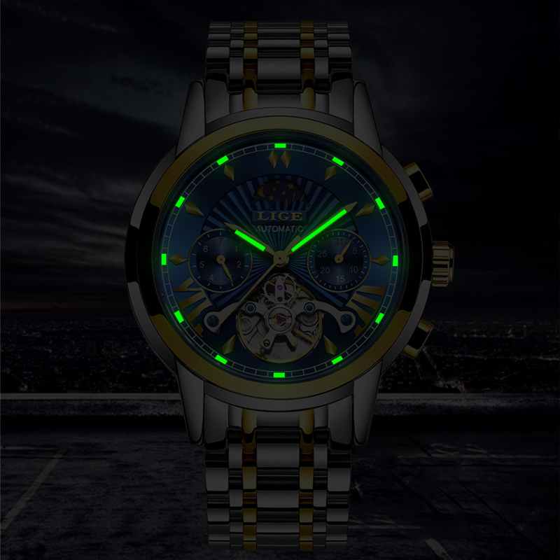Image 2 - LIGE Men Watch Tourbillon Automatic Mechanical Watch Top Brand Luxury Stainless Steel Sport Watches Mens Relogio Masculino 2019-in Mechanical Watches from Watches