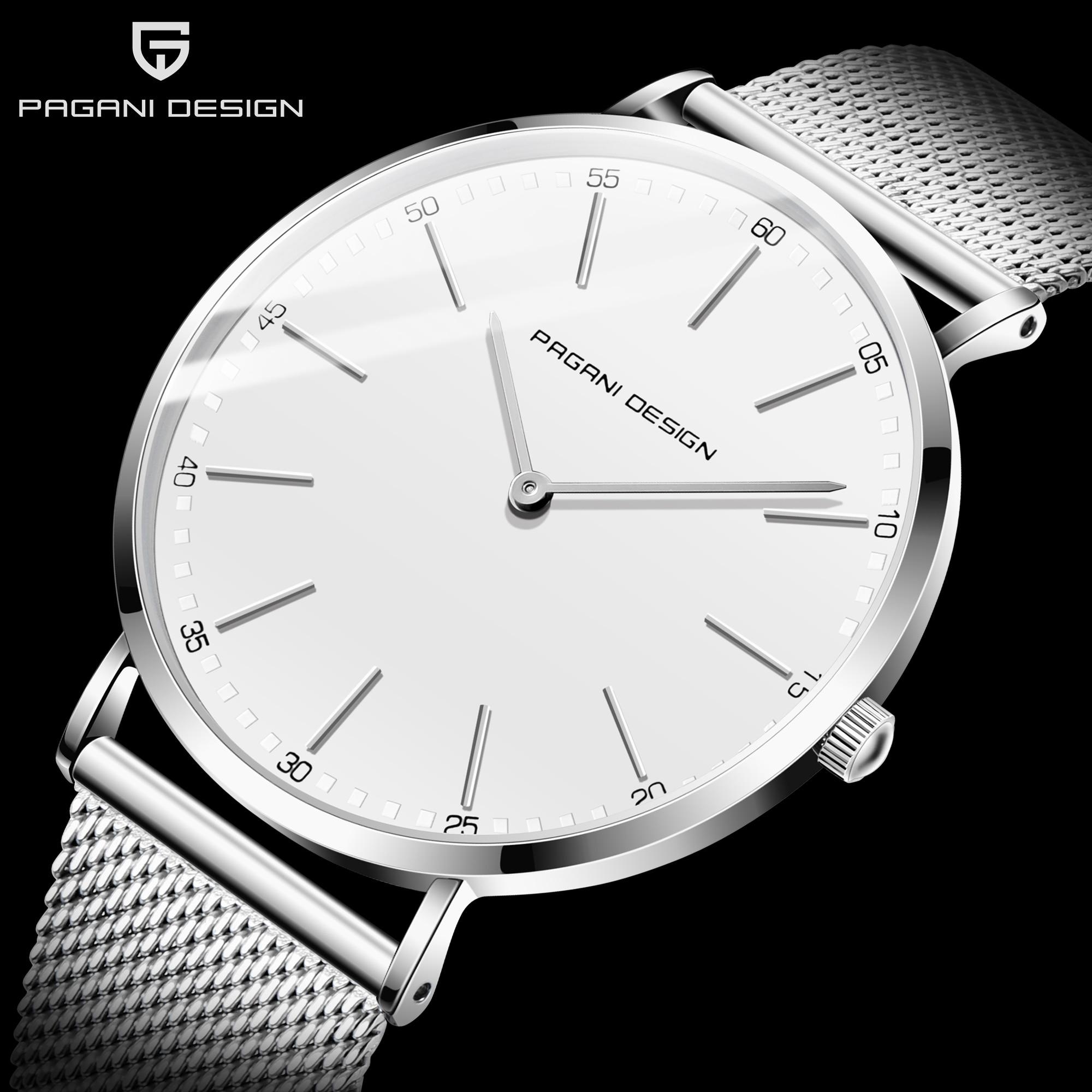 Reloj Mujer 2020 PAGANI DESIGN White Casual Mesh Belt Fashion Quartz Watch Men Luxury Brand Waterproof Clock Relogio Masculino