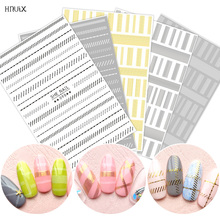 Nail Art sticker Laser gold metal stripe wave line band self adhesive transfer sheets 3D decal DIY manicure tips decoration