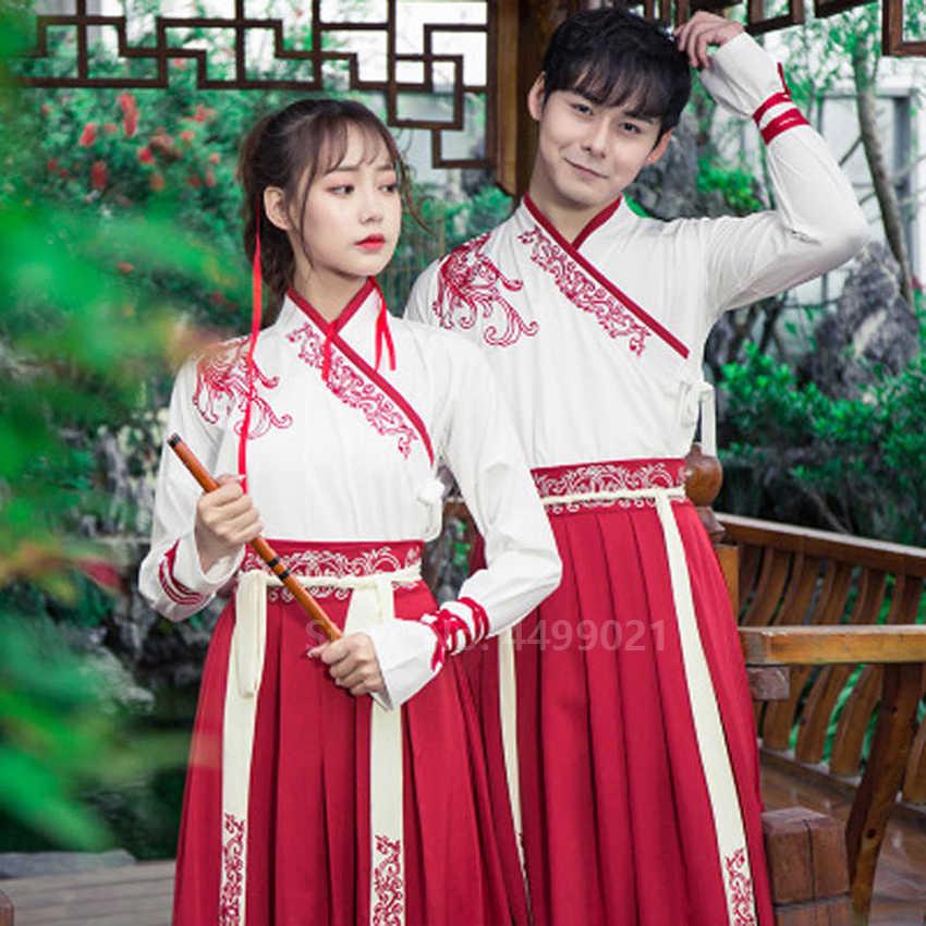 Nowy rok dorosłych mężczyzn kobiet starożytnych stroje do chińskiego narodowego Hanfu festiwal występ na scenie strój ludowy strój haftu