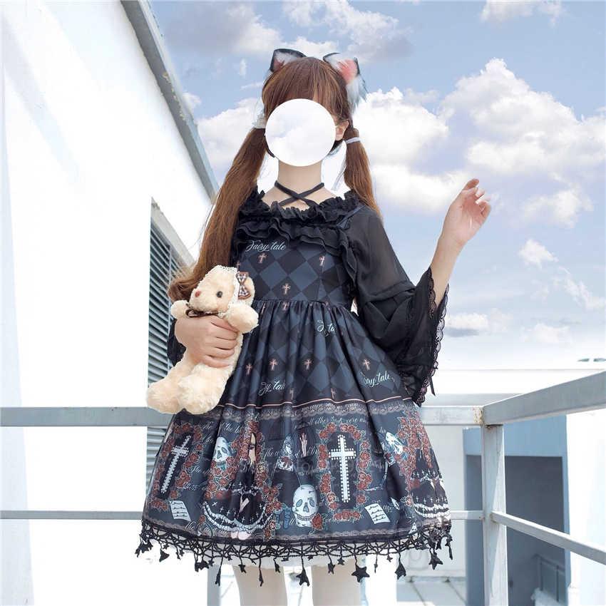 Lolita Ghost wzór nadrukowany przebranie na karnawał dla kobiet Gothic Jsk wzburzyć krzyż zdobiony pasek retro tiulowa sukienka spotkanie przy herbacie spódnica