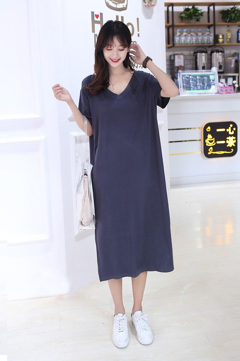 Summer short-sleeved plus fat loose large-size dress women can wear nightdress mid-length vest base skirt