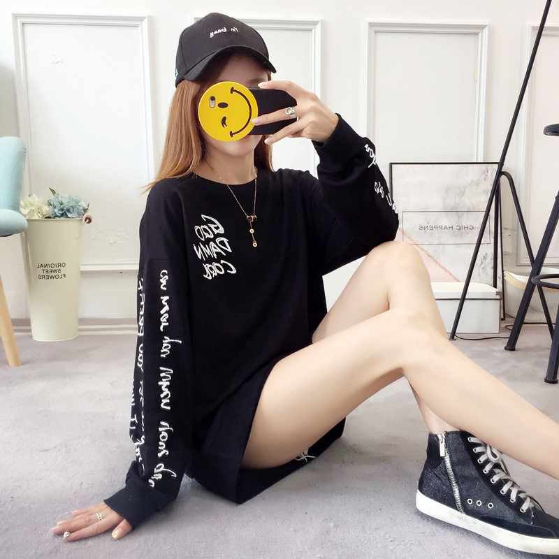 2019 autumn new Korean version of the XL T-shirt women's thin section long-sleeved loose hole wild T-shirt shirt women 86