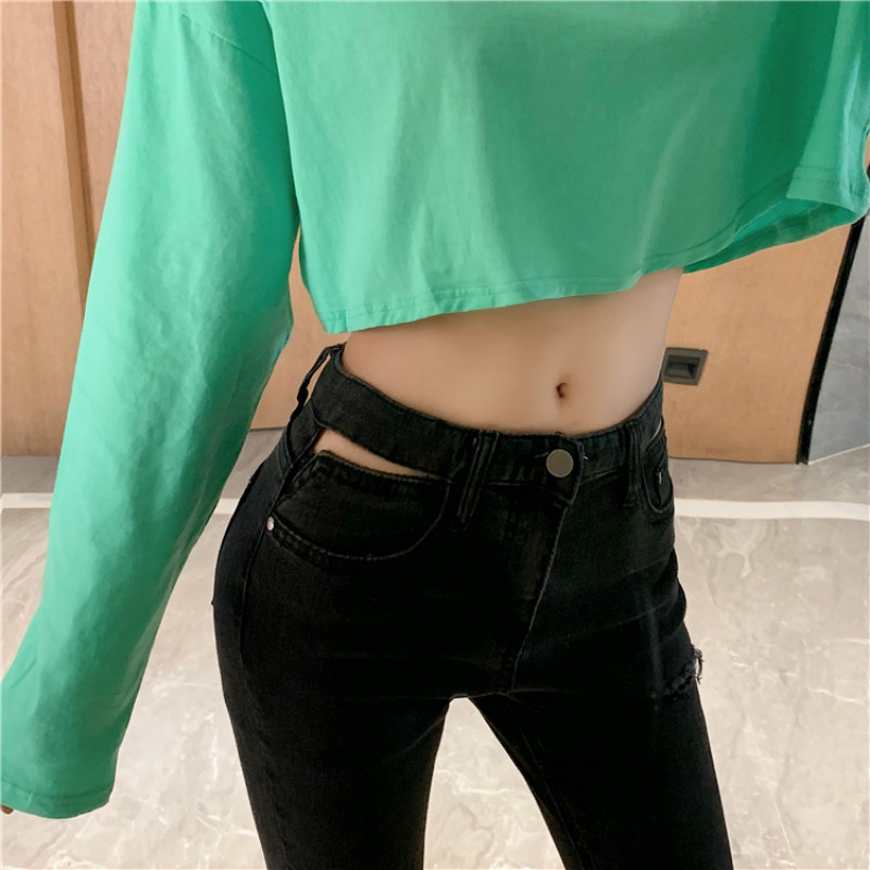 Cheap Wholesale 2019 New Autumn Winter Hot Selling Women's Fashion Casual  Denim Pants MP254
