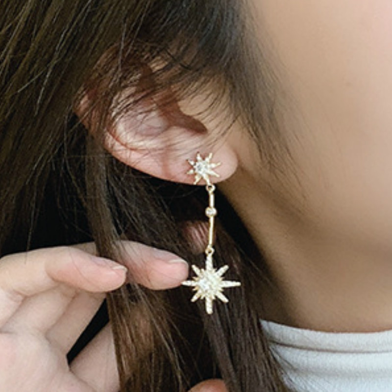 2020 Fashion Gold Star Long Earrings with Versatile Personality and Elegant Jewelry