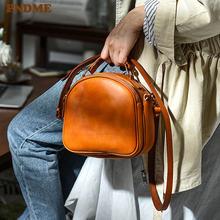 Pndme модная винтажная женская маленькая круглая сумка из натуральной