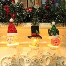ZISIZ светодиодный светильник на год, Рождество, батарейный светильник для дома, кафе, бара, вечерние, Рождественская елка, праздничная лампа, светящаяся, лося, снеговик, подвесное украшение
