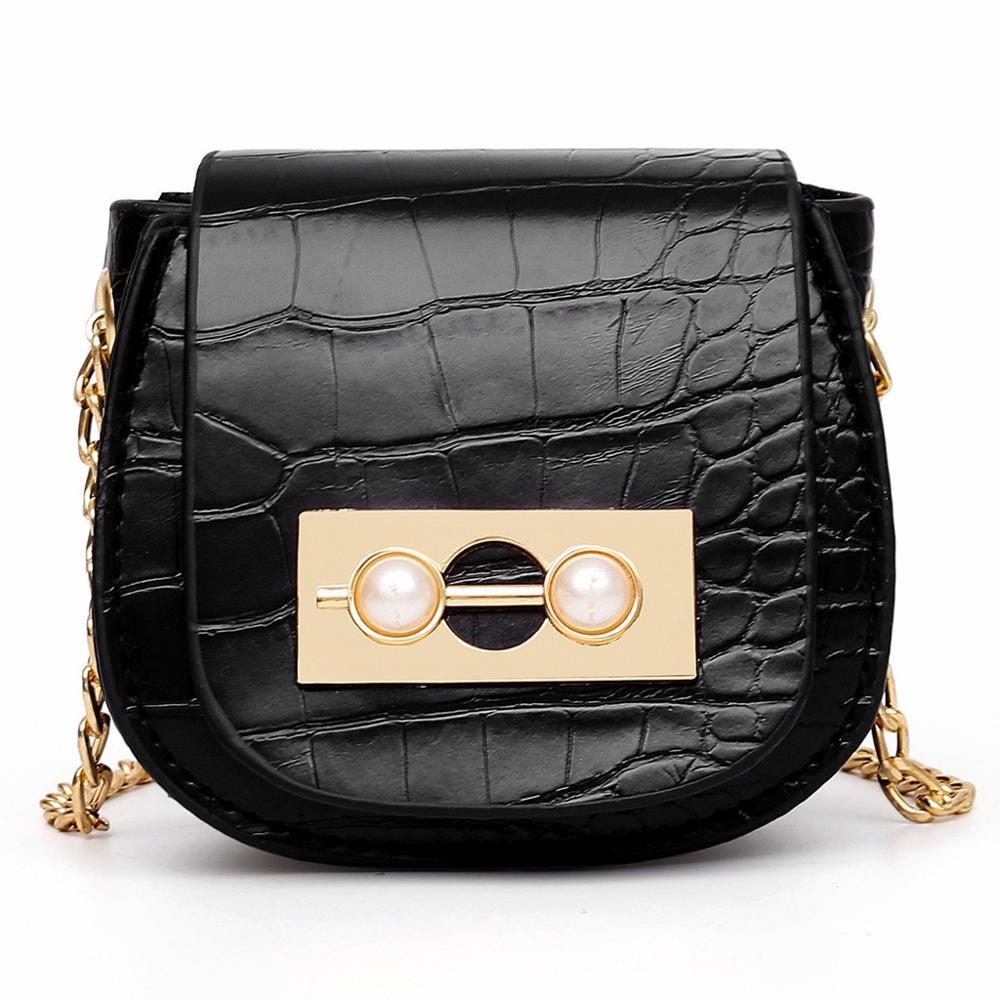 Color : Black, Size : A Elegant Vintage Black Messenger Bag Fashion PU Leather Glossy Handbag One-Shoulder New One-Shoulder Flip Bag