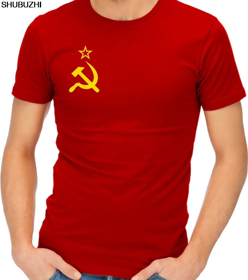 CCCP Hammer And Sickle Soviet Mens Loose Fit Cotton T-Shirt