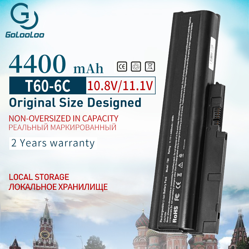 Golooloo 6 Cells Battery For IBM Lenovo ThinkPad R60 R60e R61 R61e R61i T60 T60p T61 T61p R500 T500 W500 SL400 SL500 SL300