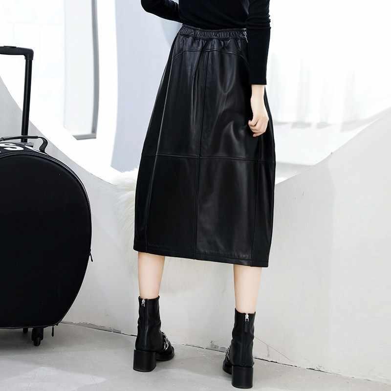 2020 ฤดูหนาวฤดูใบไม้ร่วงหนังแท้สีดำกลางยาวกระโปรงเอว A-Line โคมไฟ Sheepskin กระโปรง Big กระเป๋า Faldas Mujer
