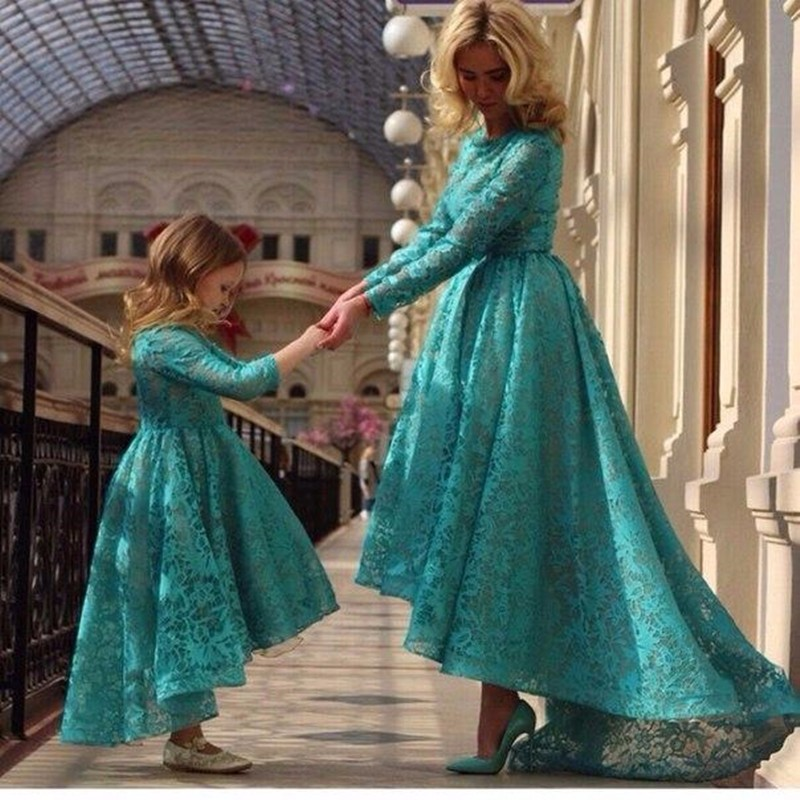 High Low 2019   Flower     Girl     Dresses   For Weddings Ball Gown 3/4 Sleeves Lace Green Long First Communion   Dresses   Little   Girl