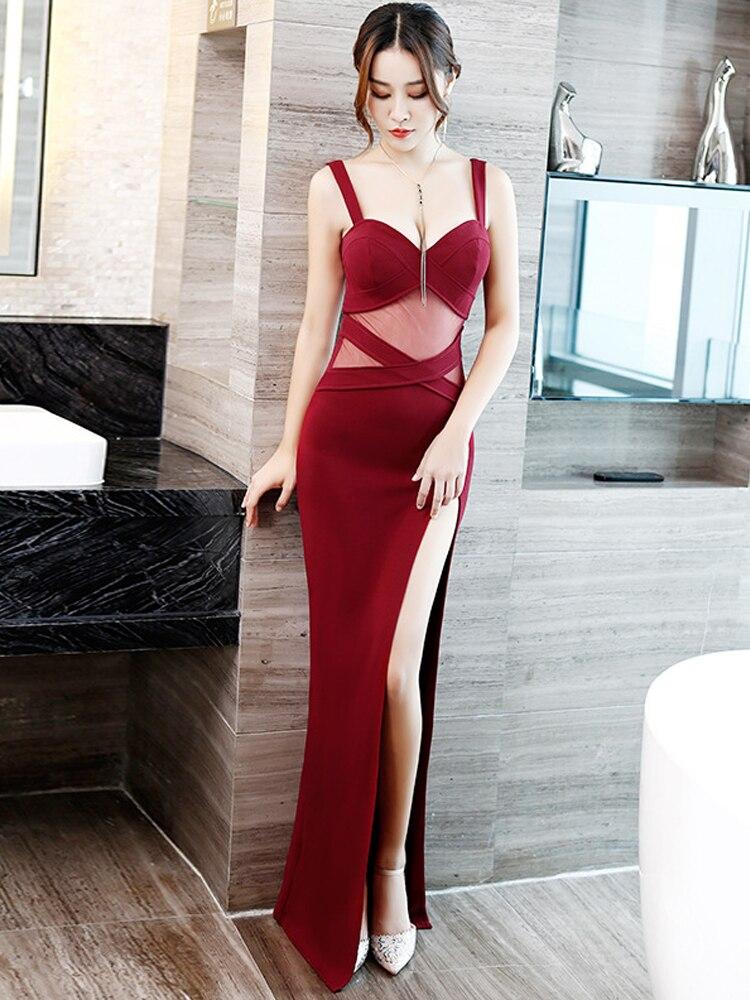 Купить с кэшбэком Sexy Evening Dress Hight-split Taffeta Nightclub Dress Backless Mesh perspective Party Dress Sleeveless Ladies Long Prom Gown