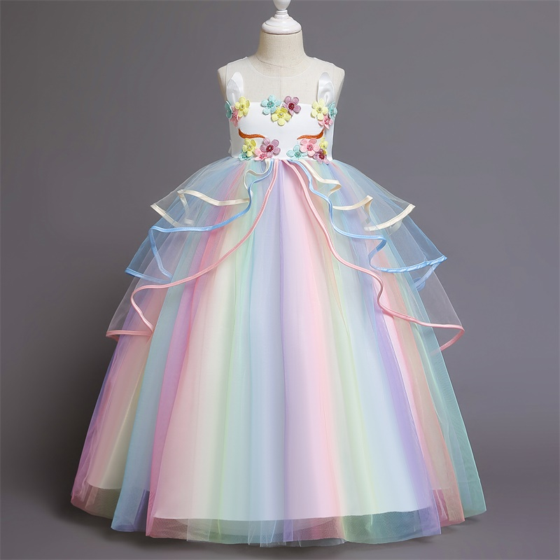 Appliques Flower Unicorn Girls Dress Rainbow Tulle Long Prom Gown Floral Beading Kids Clothes Halloween Carnival Girls Dress up 3