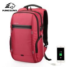 KINGSONS External USB Charge  13.3 15.6 17.3 inches Waterproof Laptop Backpack Men Women Travel Backpack Student Backpack Bag