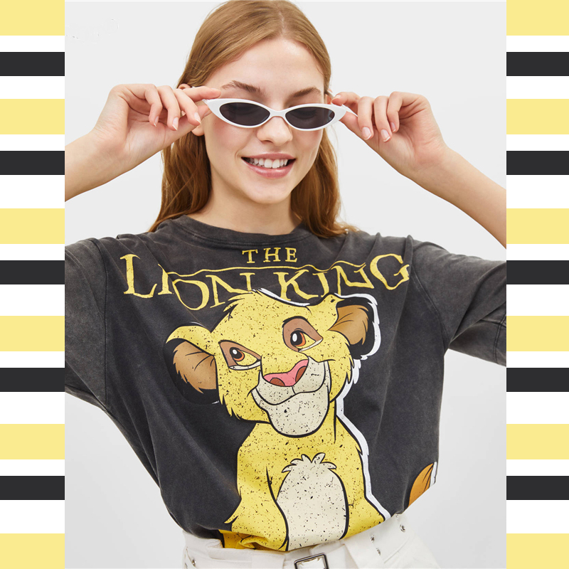 2019 Summer Black Women Tshirts Lion King Cartoon Print Casual O-neck Cotton T Shirt Women Camisa Short Sleeve T-shirts Female