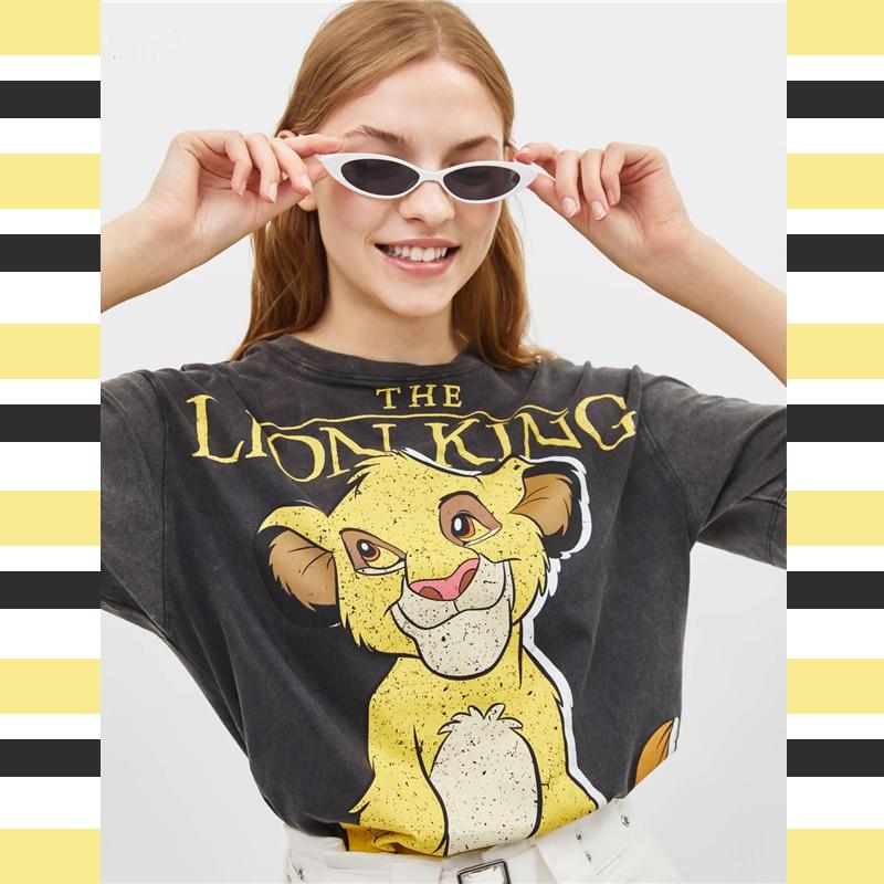 2019 Summer Black Women Tshirts Lion King Cartoon Print Casual O-neck Cotton T Shirt Women Camisa Short Sleeve T-shirts Female