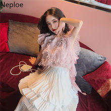 Neploe Camis Women Spring Summer 2020 Fashion Retro Tassel Lace Up O Neck Sleeveless Ladies Tanks Sexy Elegant Female Tops 1A331(China)