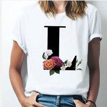 Vogue 26 alfabeto lettera donna T-shirt ragazza dalla A alla Z alfabeto combinazione fiori manica corta casual stile coreano top, nave di caduta