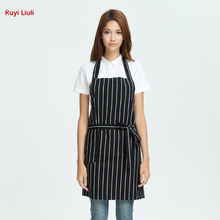 Stylish striped apron with shoulder straps, crossed neck, bib waist, kitchen and dining room smock, anti-fouling smock Unisex side slit striped smock sweater