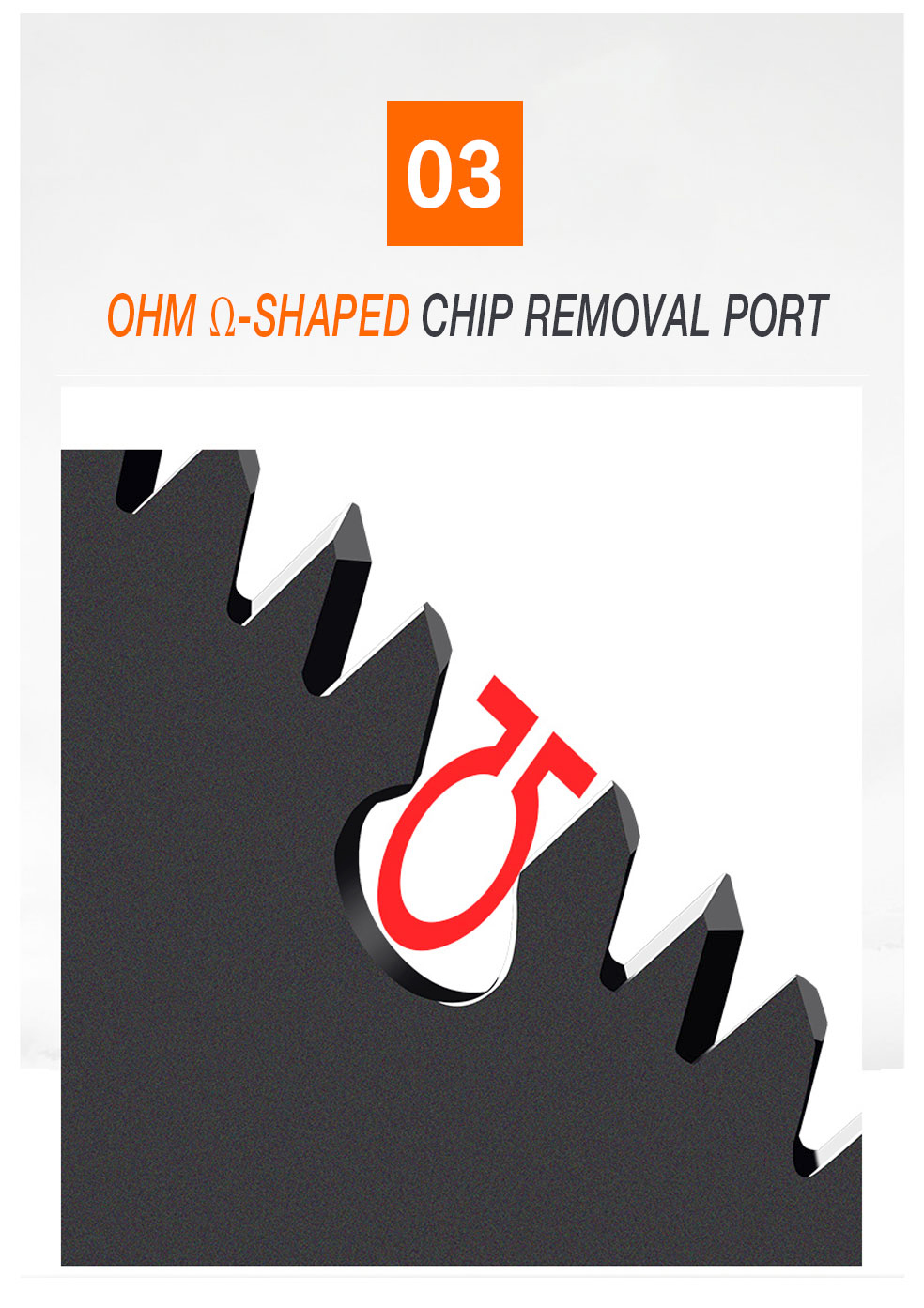 AI-ROAD OHM shaped chip removal port