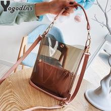 Sac à main Transparent en PVC pour femmes, 2 sacs de luxe, mode, sac Transparent en PVC, bonne qualité, sac seau à bandoulière
