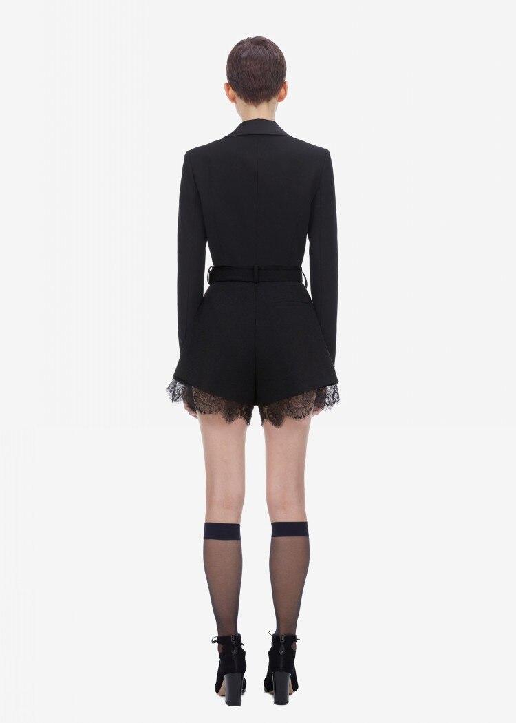 ESHINES, дизайнерский купальный костюм с шортами, Осенний лоскутный кружевной комбинезон с v образным вырезом и длинными рукавами, с поясом, офисные женские комбинезоны - 3