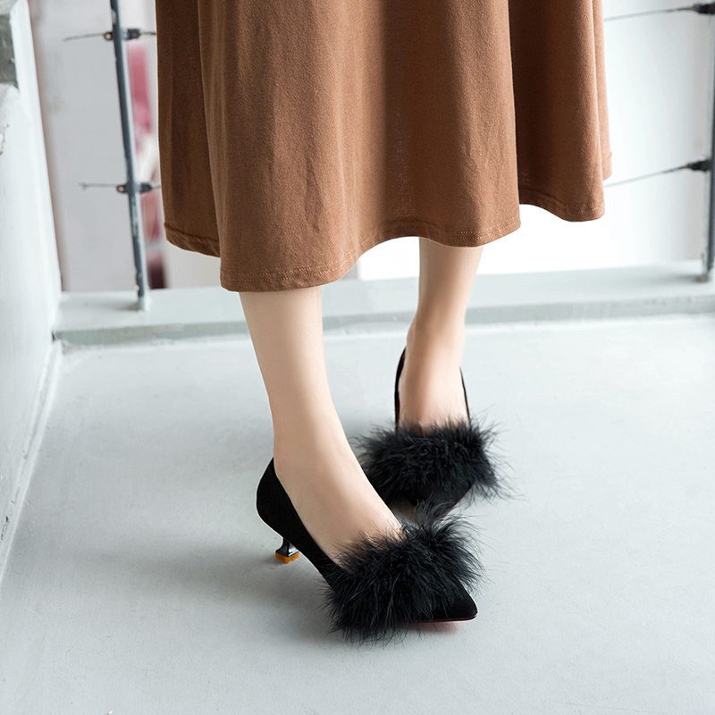 ZHENZHOU shoes Women Pumps high heels autumn 2018 new female scoop shoes small with single shoes female 5cm cat with shoes 19