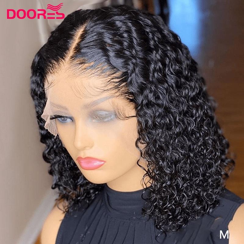 13x4x1 Bob corto pelucas delanteras de encaje rizado Peluca de cabello humano Pre arrancó parte de encaje pelucas de cabello humano para las mujeres en forma de T corte Pixie peluca