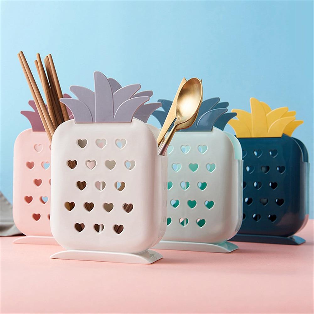 Creative Pineapple Storage Box Multifunction Chopsticks Spoon Fork Cutlery Drain Holder Plastic Kitchen Organizer Tools