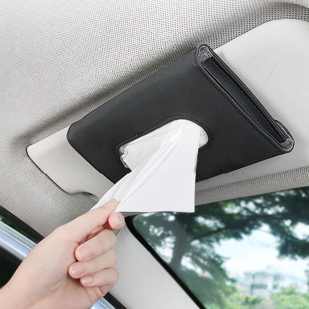 Leather Tissue Box Storage Auto Interior Accessories Paper Car Sun Visor Napkin Unique Parts Portable Car Ornaments