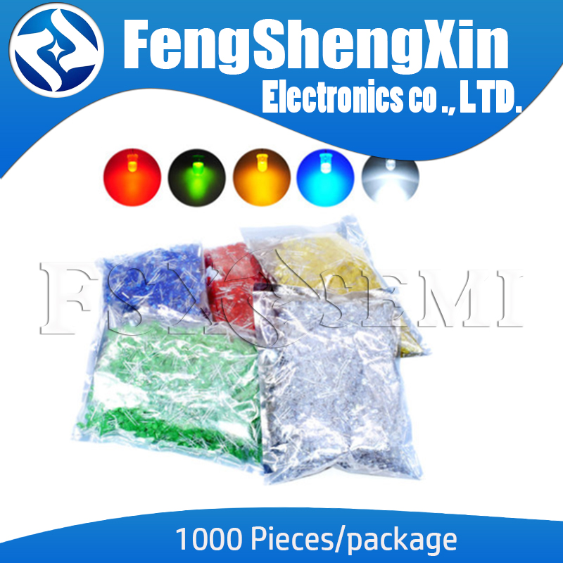 1000pcs/lot 5MM LED Red Green Yellow Blue White F5 Feet Long 17MM