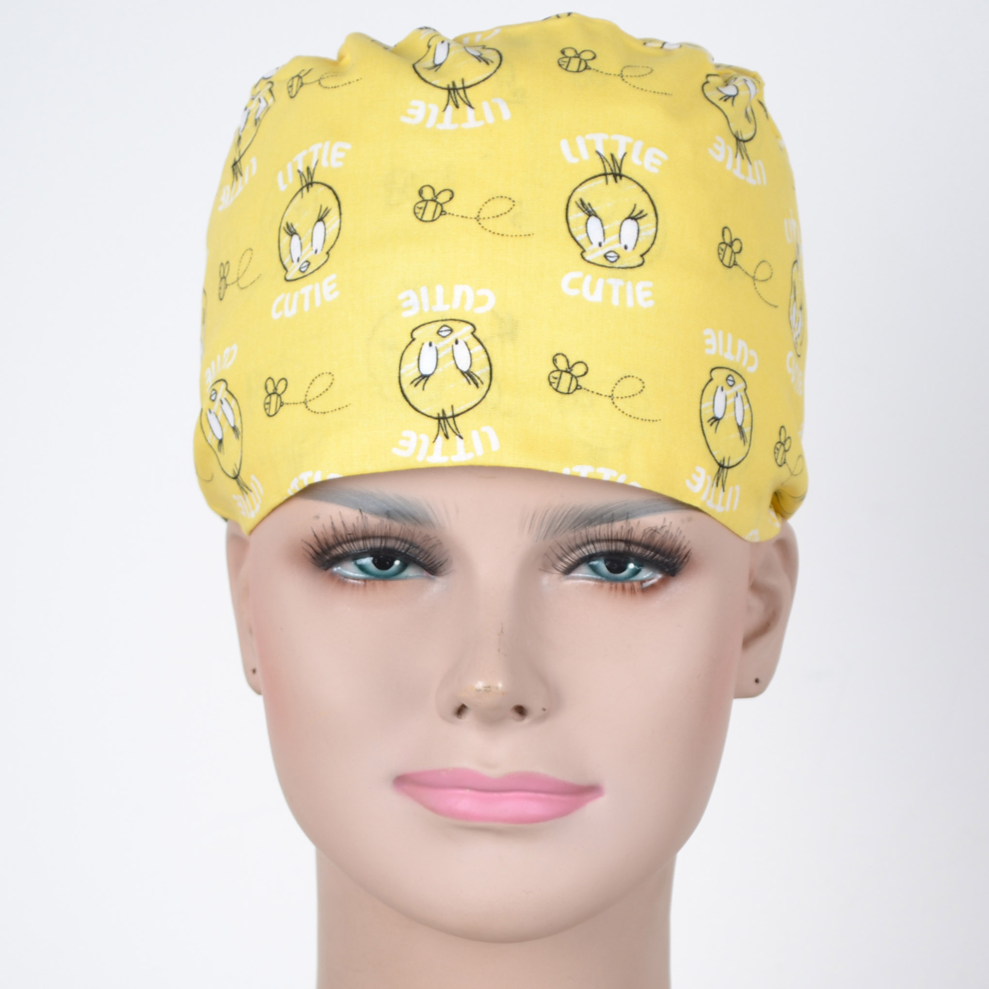 Hennar Wome Cotton Scrub Caps In Yellow With Duck Prints 100% Cotton  Hospital Medical Hats Print  Unisex Surgical Caps Mask
