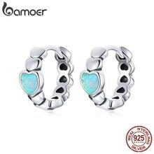bamoer 925 Sterling Silver Love of Rainbow Earrings Buckle Hoop Earrings Heart Shape Opal for Women Fashion Jewelry SCE1137