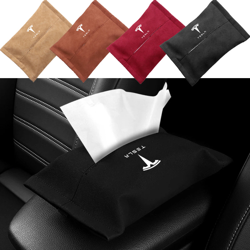 2021 New Suede Car Tissue Box Cover For Tesla Model 3 Y Napkin Paper Storage Case Holder Pouch Sleeve Accessories