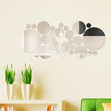 modern 28Pcs Circle Dot Round Mirror Effect Wall Sticker DIY Living Room Decal Decor Self-Adhesive Design Decoration