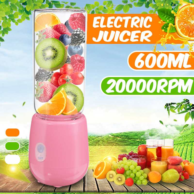 600ml 4/6 Blades Blender Electric Kitchen Mixer Juicer Fruit Cup Mini Portable Food Processor USB Rechargeable Quick Juicing