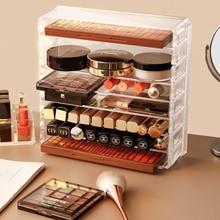 8 layer Makeup Storage Box Acrylic Cosmetic Organizer Transparent Lipstick Blush Storage Display Compartment Grid Plastic Box